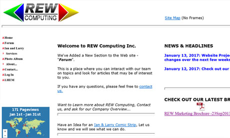 Screenshot of the old REW Computing website - REW Computing offers services in eDiscovery, project management and IBM Lotus Notes support for the area of Newmarket, Toronto, the GTA, and Ontario, Canada.